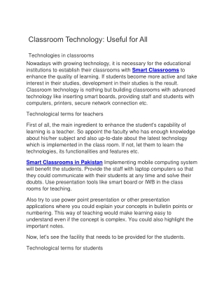 Classroom Technology: Useful for All