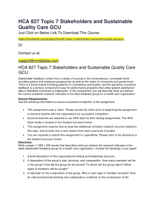 HCA 827 Topic 7 Stakeholders and Sustainable Quality Care GCU
