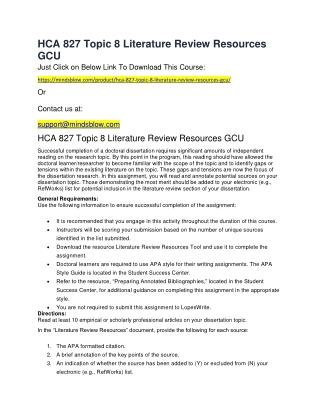 HCA 827 Topic 8 Literature Review Resources GCU