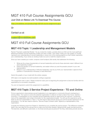 MGT 410 Full Course Assignments GCU