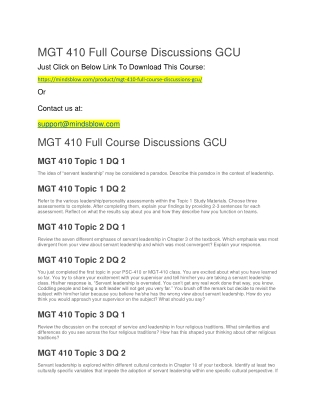 MGT 410 Full Course Discussions GCU