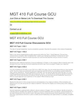 MGT 410 Full Course GCU