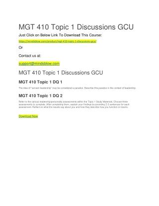 MGT 410 Topic 1 Discussions GCU