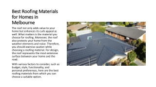 Best Roofing Materials for Homes in Melbourne