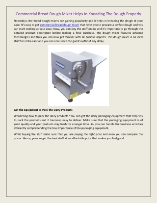 Commercial Bread Dough Mixer Helps In Kneading The Dough Properly