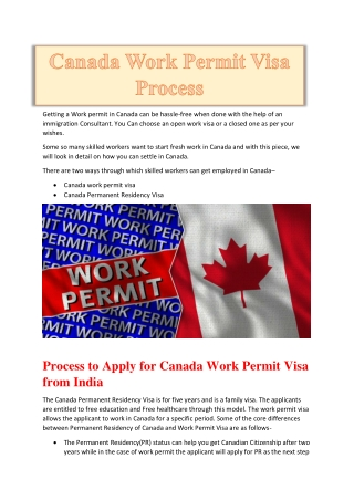 Canada Work Visa Process from India