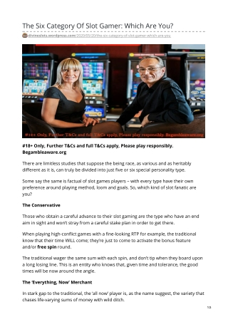 The Six Category Of Slot Gamer: Which Are You?