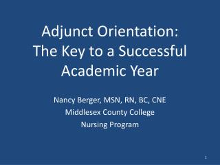 Adjunct Orientation:  The Key to a Successful Academic Year