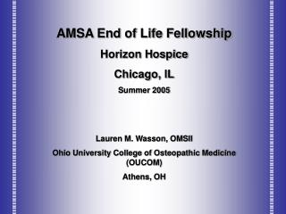 AMSA End of Life Fellowship Horizon Hospice Chicago, IL Summer 2005 Lauren M. Wasson, OMSII Ohio University College of O