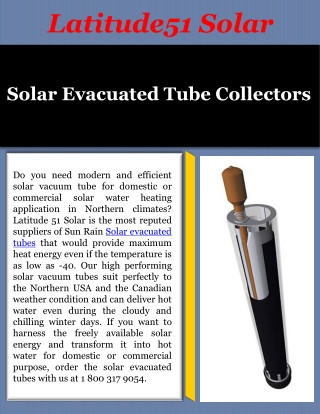 Solar Evacuated Tube Collector