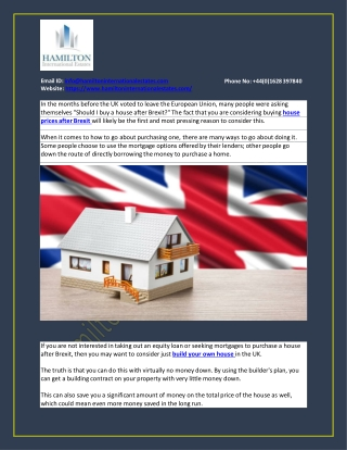 Should I buy a house after Brexit?