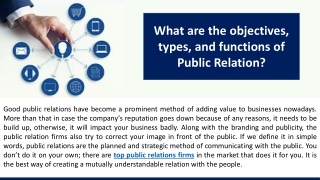 What are the objectives, types, and functions of Public Relation