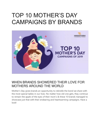 TOP 10 MOTHER'S DAY CAMPAIGNS BY BRANDS
