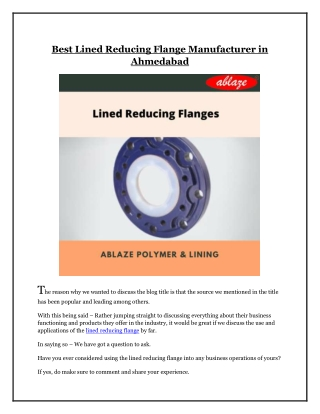 Best Lined Reducing Flange Manufacturer in Ahmedabad
