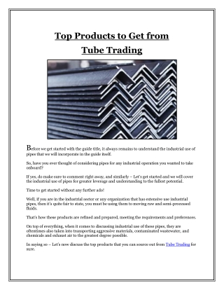 Top Products to Get from  Tube Trading