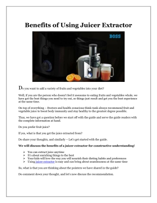 Benefits of Using Juicer Extractor