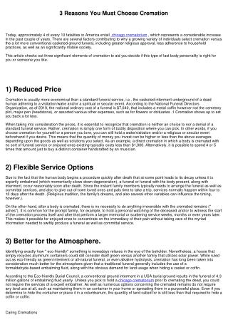 3 Factors You Must Choose Cremation