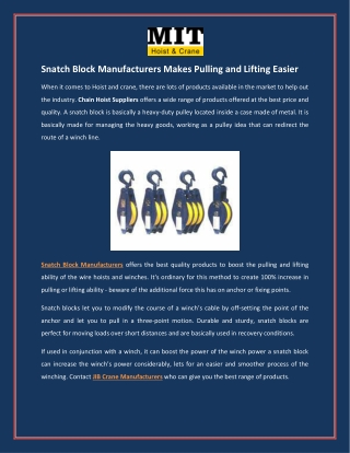 Snatch Block Manufacturers Makes Pulling and Lifting Easier