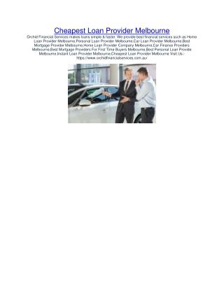 Cheapest Loan Provider Melbourne