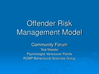 Offender Risk Management Model
