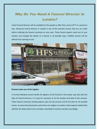 Why Do You Need A Funeral Director In London?