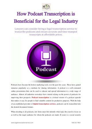 How Podcast Transcription is Beneficial for the Legal Industry
