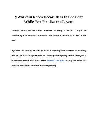 5 Workout Room Decor Ideas to Consider While You Finalize the Layout