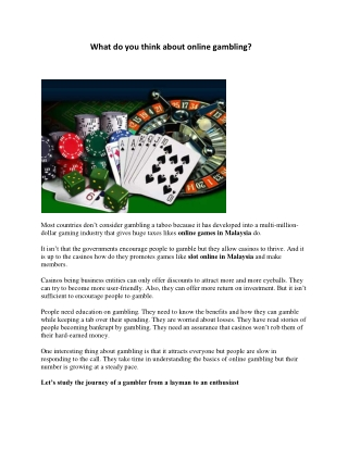 What do you think about online gambling?