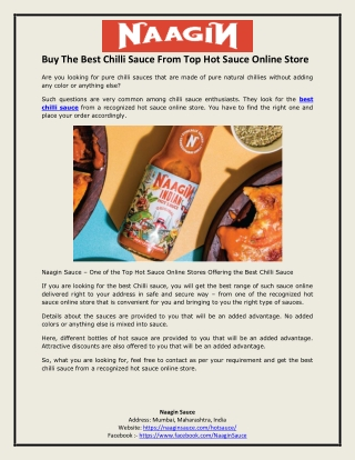 Buy The Best Chilli Sauce From Top Hot Sauce Online Store