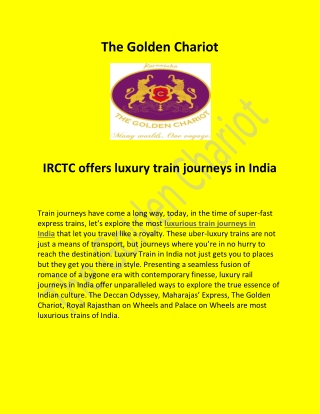 You Should Visit Luxury Train Journeys In India With Golden Chariot