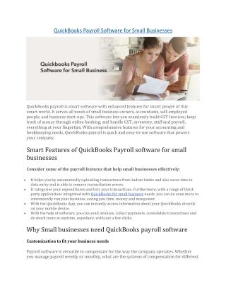 QuickBooks Payroll Software for Small Businesses