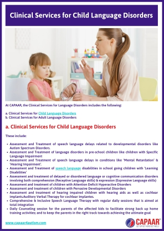 Clinical Services | Speech and Language Disorder Treatment in Bangalore, Hulimavu | CAPAAR