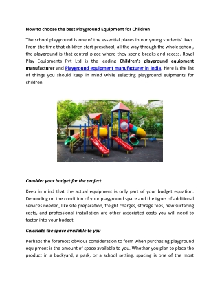 How to choose the best playground equipment for children