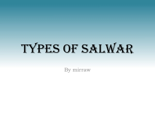 Types of salwar | by mirraw