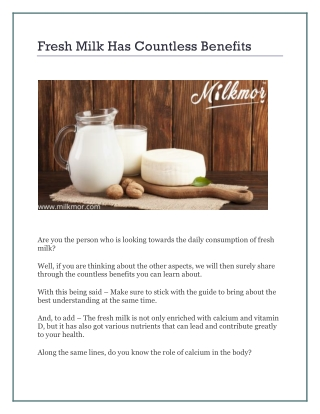 Fresh Milk Has Countless Benefits