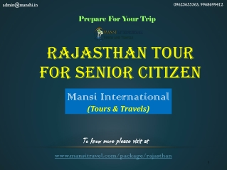 Holiday Packages For Senior Citizens From Delhi