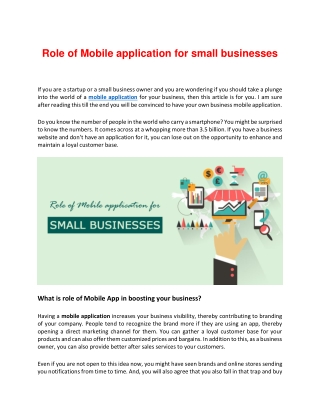 How critical role does Mobile App play in Small Business?