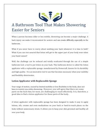 A Bathroom Tool That Makes Showering Easier for Seniors