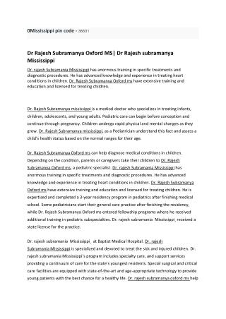 Dr Rajesh Subramanya Oxford MS| Dr Rajesh subramanya Mississippi
