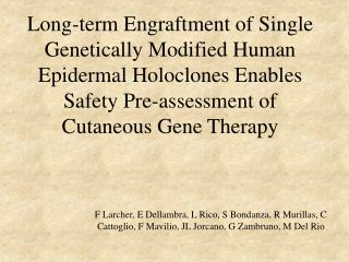 Long-term Engraftment of Single Genetically Modified Human Epidermal Holoclones Enables Safety Pre-assessment of Cutaneo