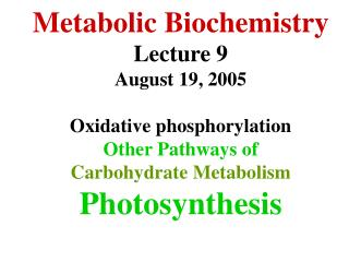 Metabolic Biochemistry Lecture 9 August 19, 2005 Oxidative phosphorylation Other Pathways of  Carbohydrate Metabolism Ph