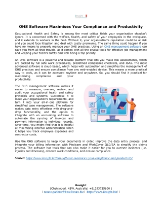OHS Software Maximises Your Compliance and Productivity