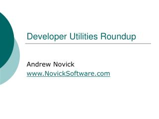 Developer Utilities Roundup