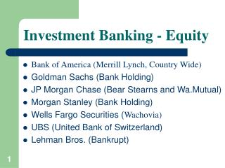 Investment Banking - Equity