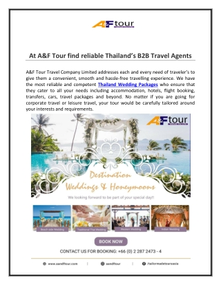 At A & F Tour Find Reliable Thailand's B2B Travel Agents