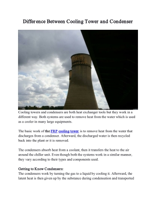 Difference Between Cooling Tower and Condenser