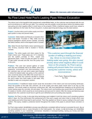 Nu Flow Lined Hotel Pool's Leaking Pipes Without Excavation