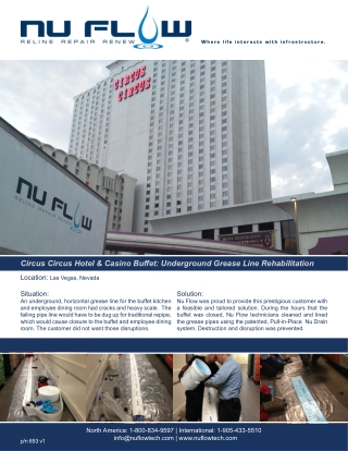 Underground Grease Line Rehabilitation BY NU Flow At Circus Circus Hotel & Casino Buffet