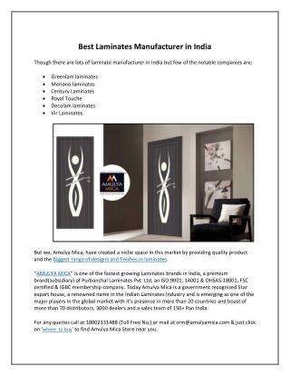 Best Laminates Manufacturer in India