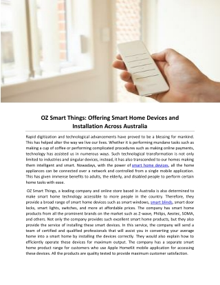 OZ Smart Things: Offering Smart Home Devices and Installation Across Australia
